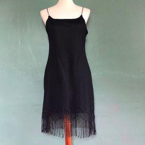 Dresses & Skirts - 90's spaghetti strap black lace dress with fringe